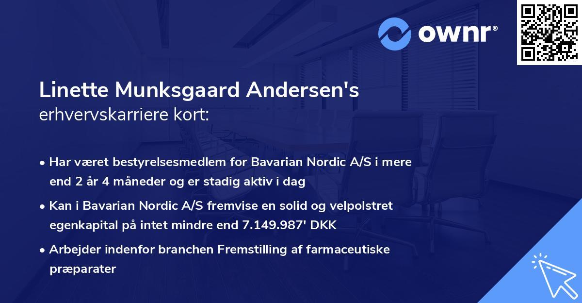 Linette Munksgaard Andersen's erhvervskarriere kort