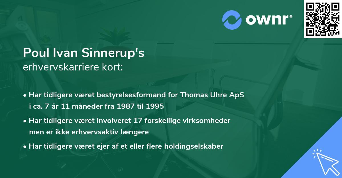 Poul Ivan Sinnerup's erhvervskarriere kort