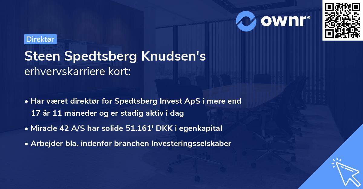 Steen Spedtsberg Knudsen's erhvervskarriere kort