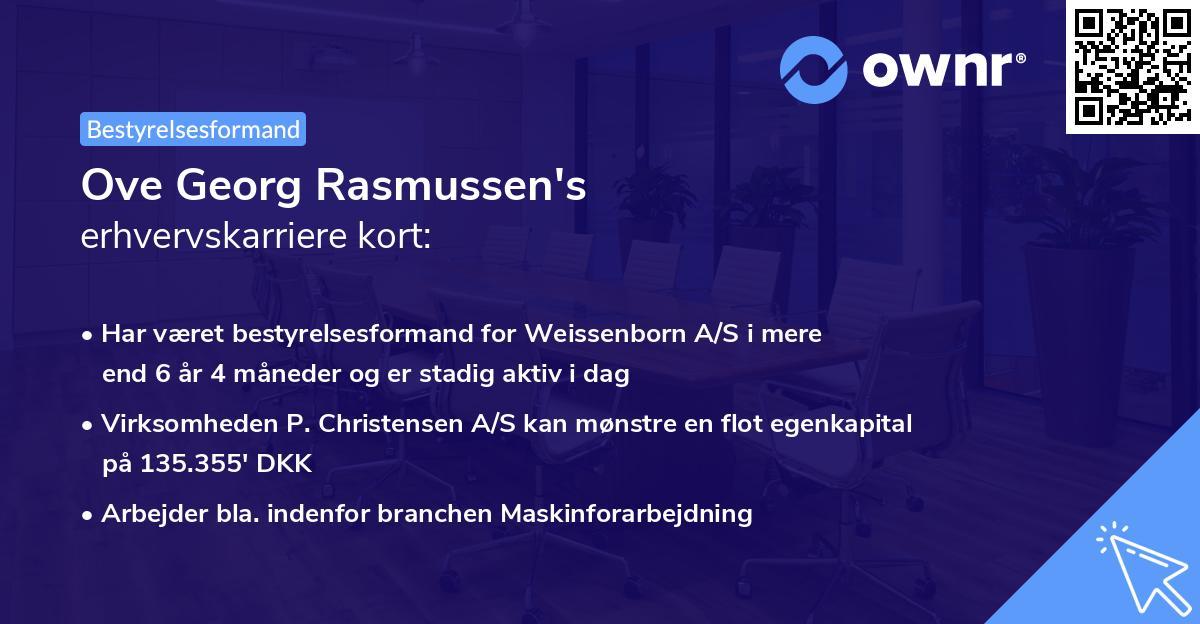Ove Georg Rasmussen's erhvervskarriere kort