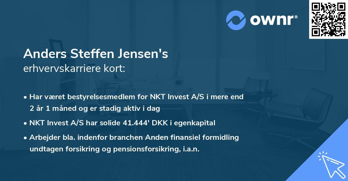 Anders Steffen Jensen's erhvervskarriere kort