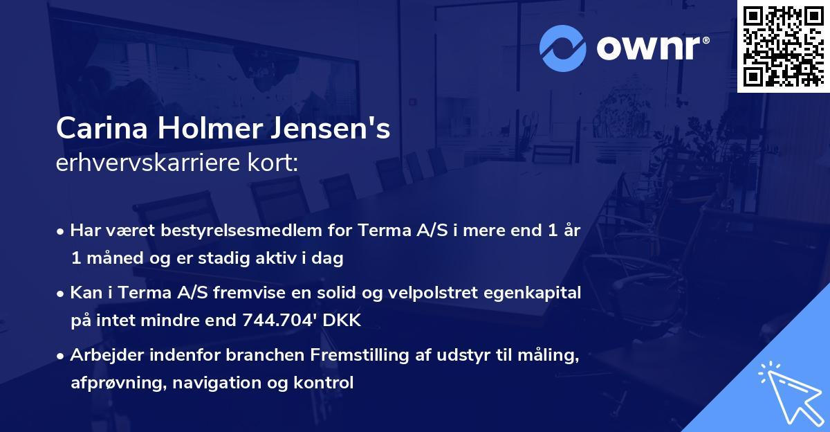 Carina Holmer Jensen's erhvervskarriere kort