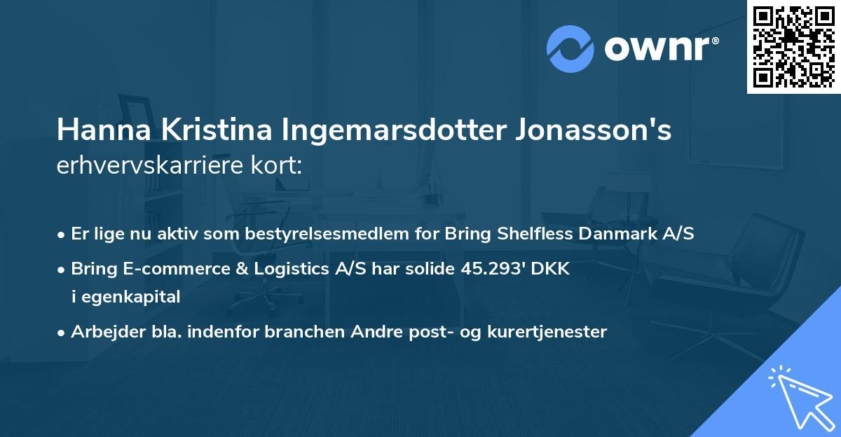 Hanna Kristina Ingemarsdotter Jonasson's erhvervskarriere kort
