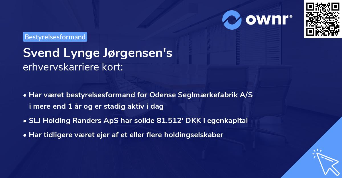 Svend Lynge Jørgensen's erhvervskarriere kort
