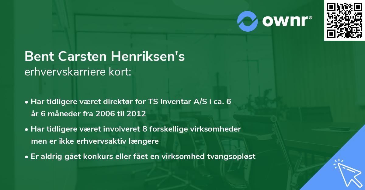 Bent Carsten Henriksen's erhvervskarriere kort