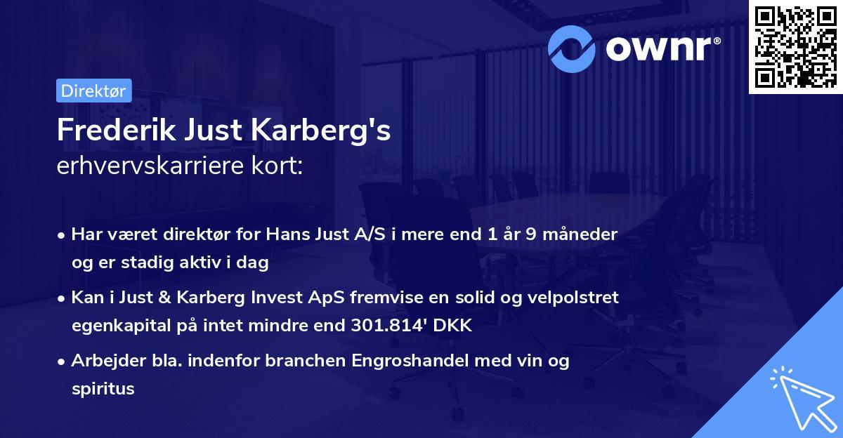 Frederik Just Karberg's erhvervskarriere kort