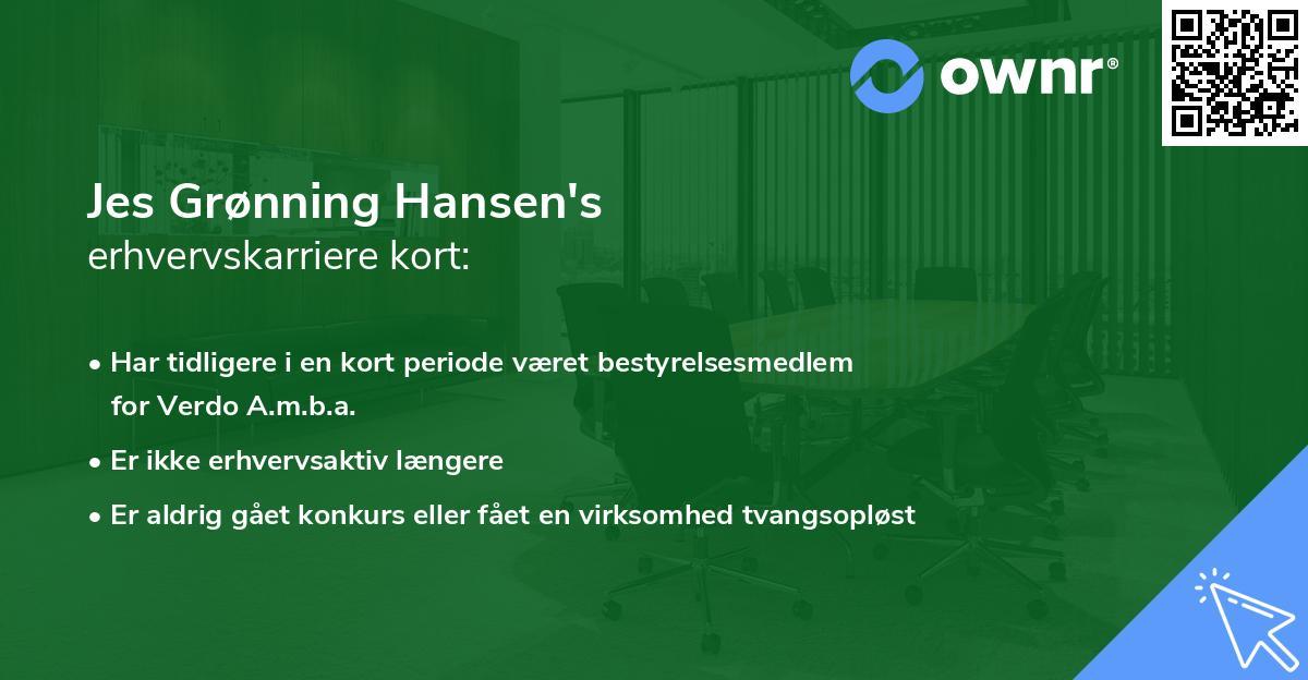 Jes Grønning Hansen's erhvervskarriere kort