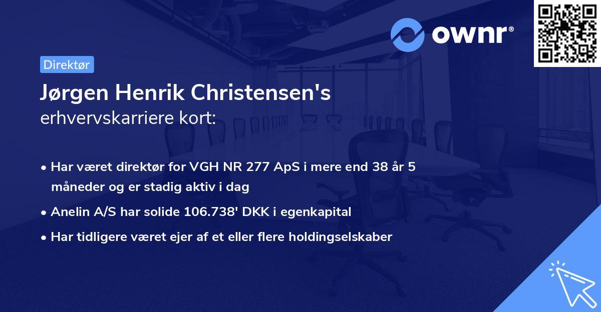 Jørgen Henrik Christensen's erhvervskarriere kort
