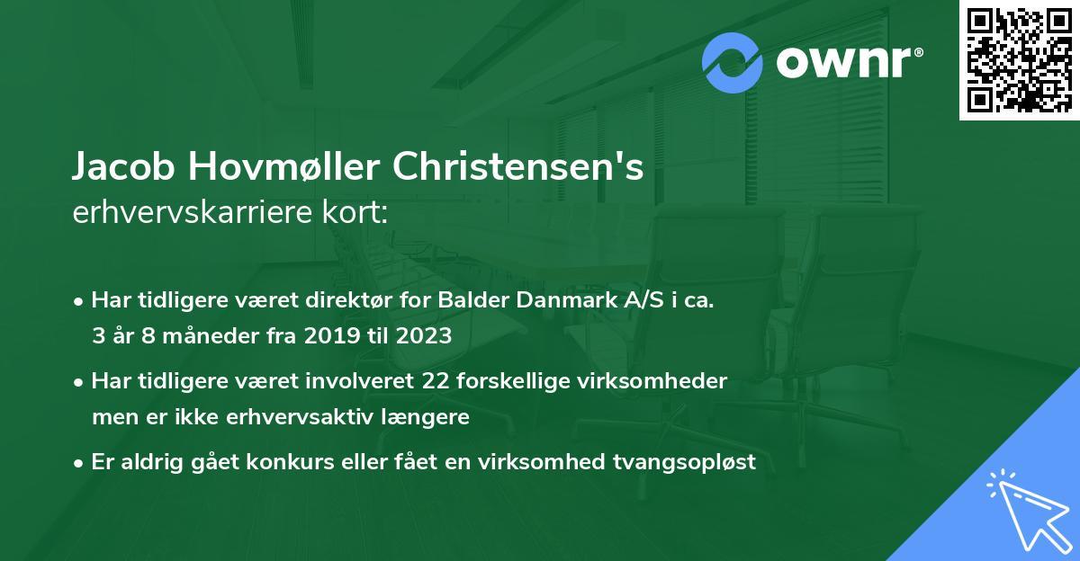 Jacob Hovmøller Christensen's erhvervskarriere kort