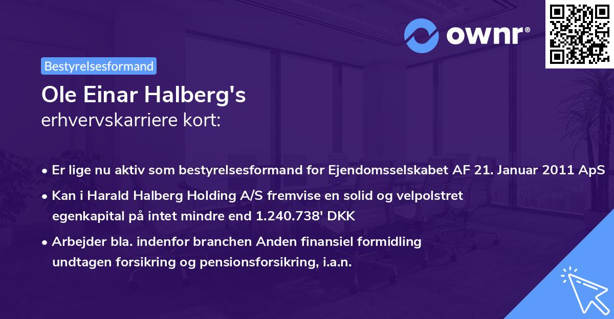 Ole Einar Halberg's erhvervskarriere kort