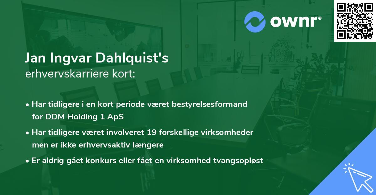 Jan Ingvar Dahlquist's erhvervskarriere kort