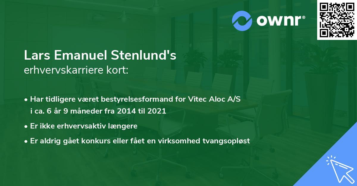 Lars Emanuel Stenlund's erhvervskarriere kort