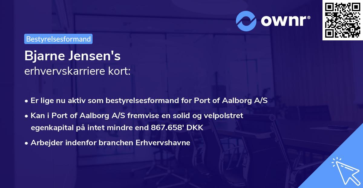 Bjarne Jensen's erhvervskarriere kort
