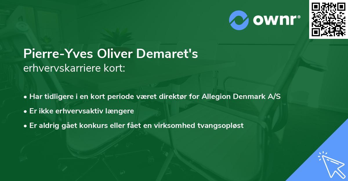 Pierre-Yves Oliver Demaret's erhvervskarriere kort