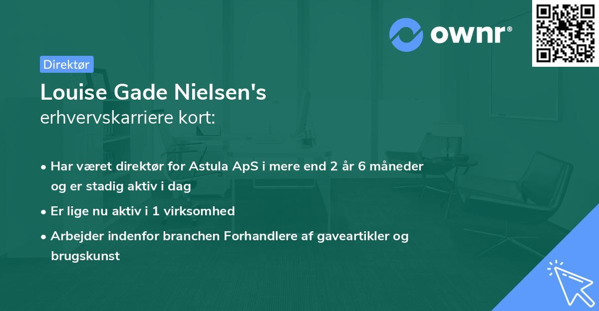 Louise Gade Nielsen's erhvervskarriere kort