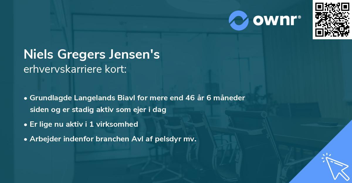 Niels Gregers Jensen's erhvervskarriere kort
