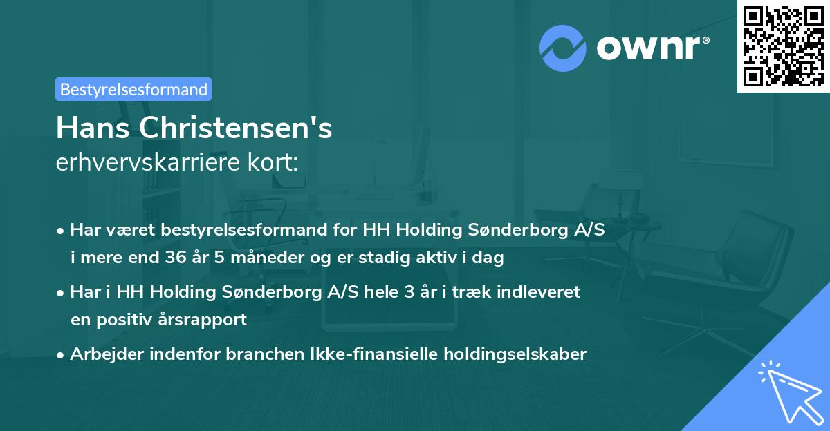 Hans Christensen's erhvervskarriere kort
