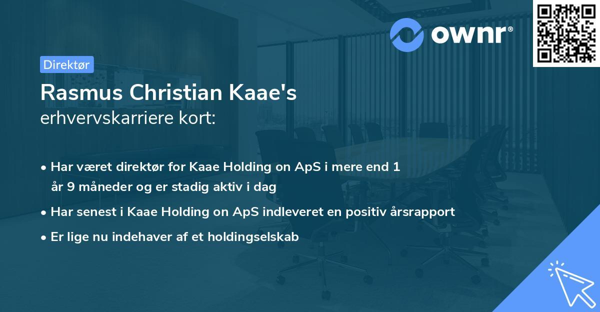 Rasmus Christian Kaae's erhvervskarriere kort