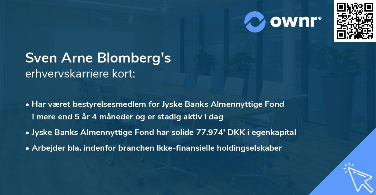 Sven Arne Blomberg's erhvervskarriere kort