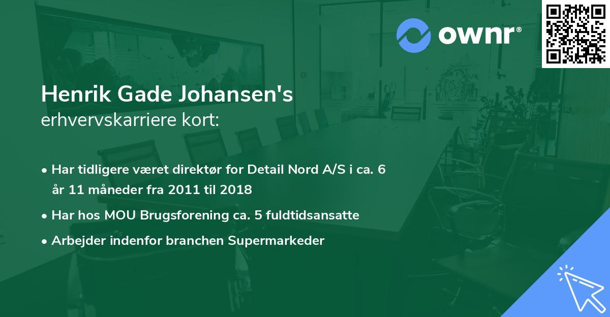 Henrik Gade Johansen's erhvervskarriere kort