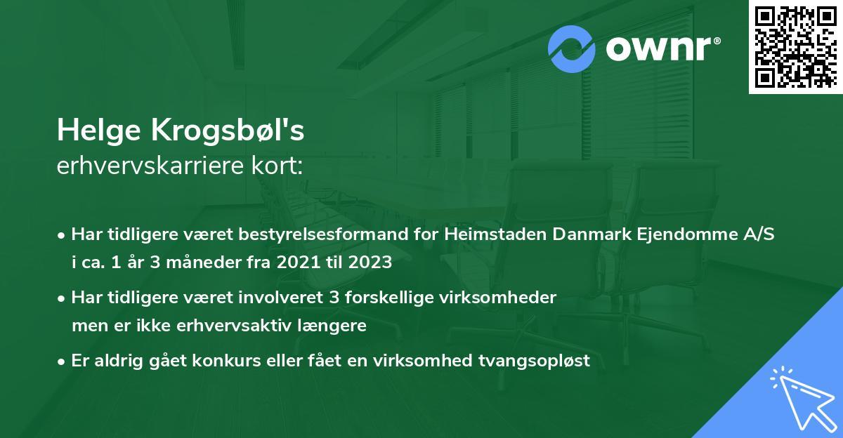 Helge Krogsbøl's erhvervskarriere kort
