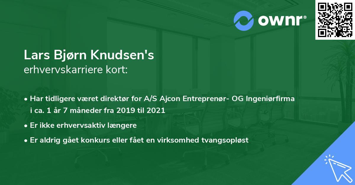 Lars Bjørn Knudsen's erhvervskarriere kort