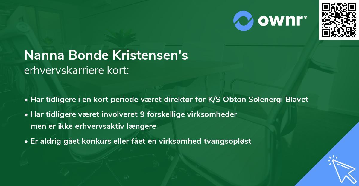 Nanna Bonde Kristensen's erhvervskarriere kort