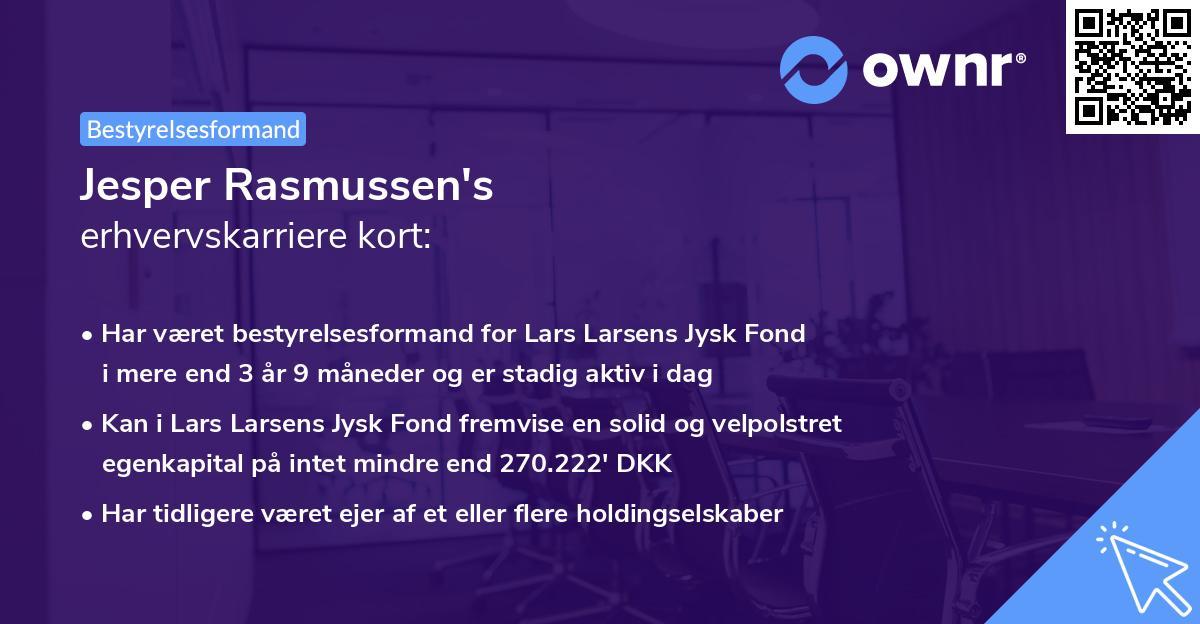 Jesper Rasmussen's erhvervskarriere kort