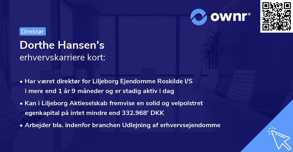 Dorthe Hansen's erhvervskarriere kort