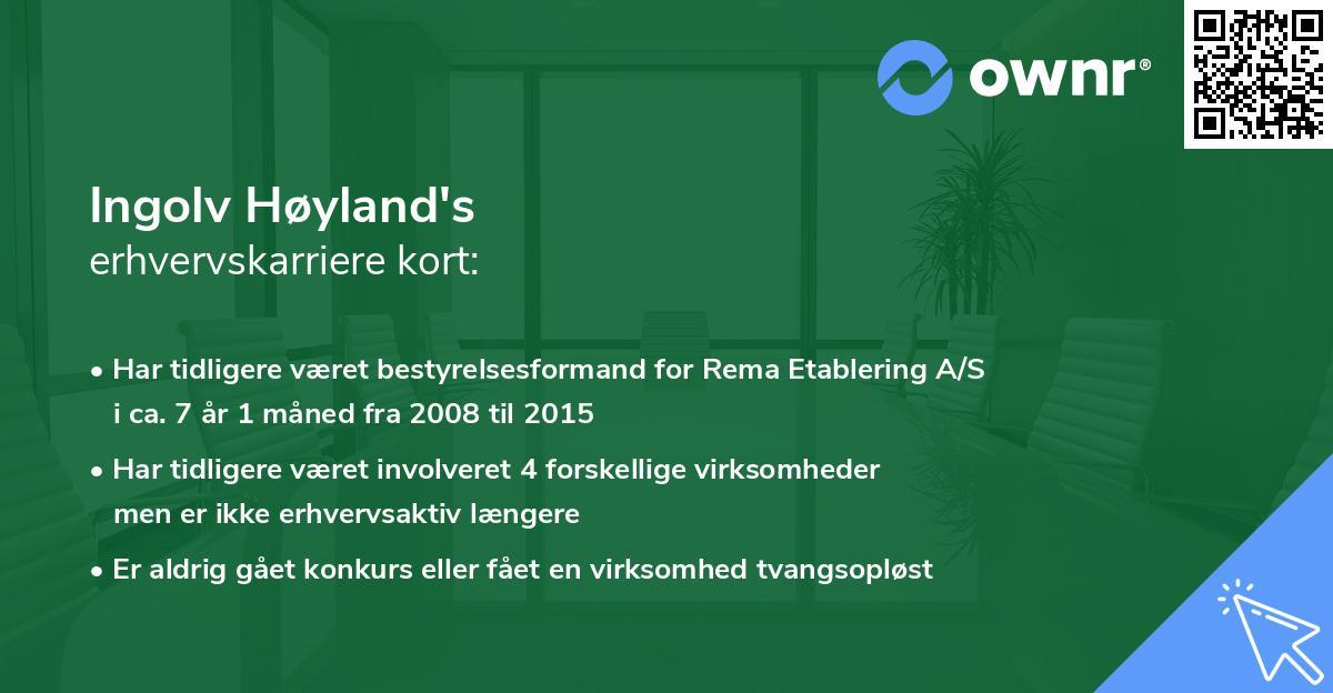 Ingolv Høyland's erhvervskarriere kort