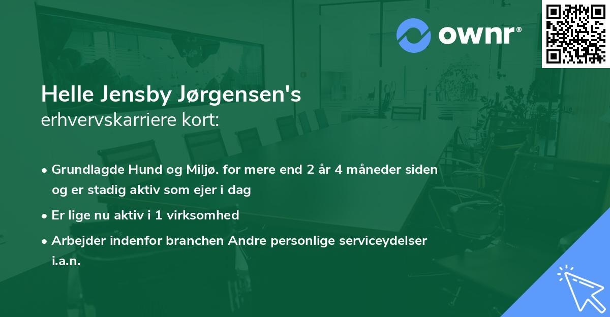 Helle Jensby Jørgensen's erhvervskarriere kort