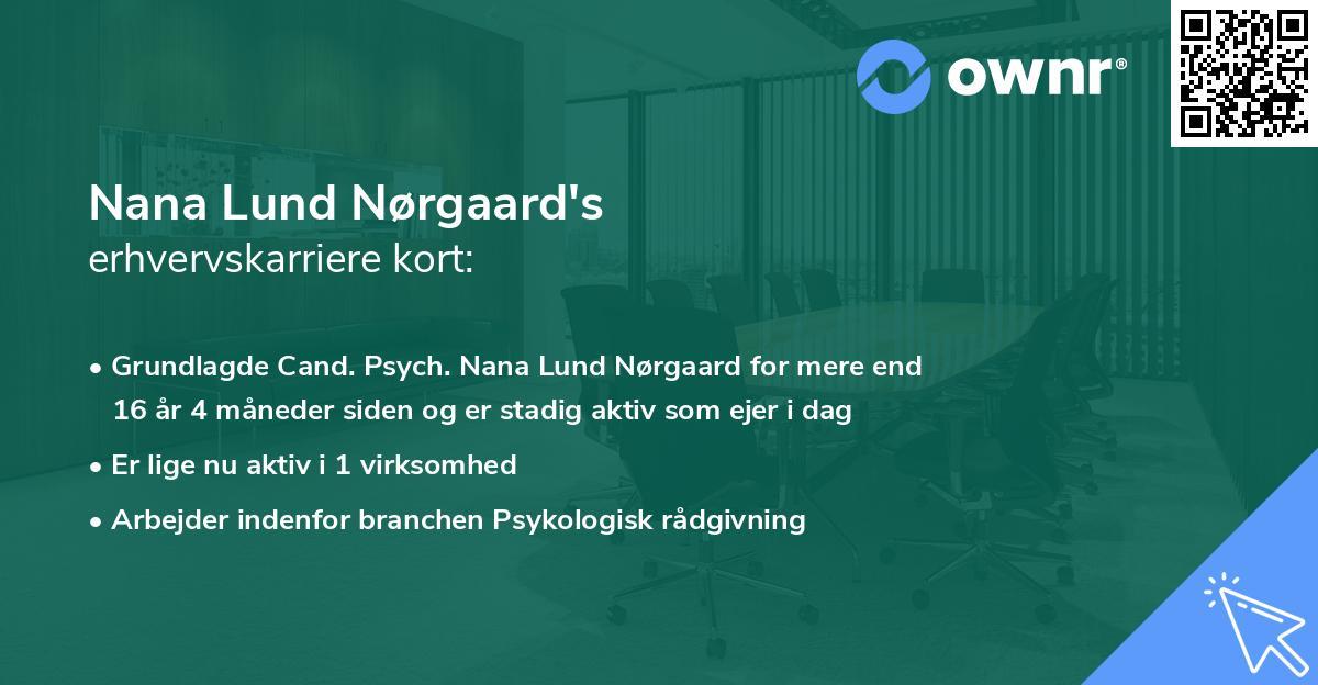 Nana Lund Nørgaard's erhvervskarriere kort