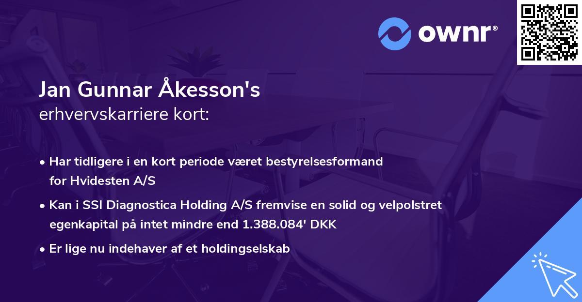 Jan Gunnar Åkesson's erhvervskarriere kort