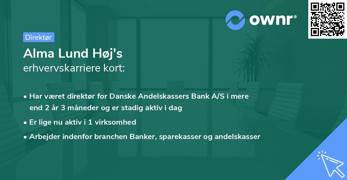 Alma Lund Høj's erhvervskarriere kort