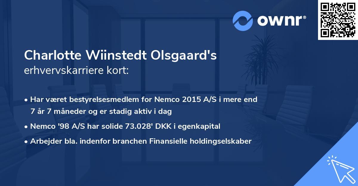 Charlotte Wiinstedt Olsgaard's erhvervskarriere kort