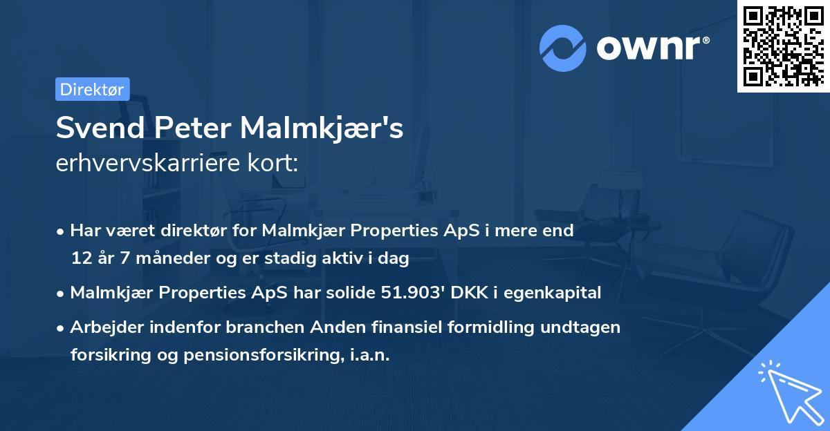 Svend Peter Malmkjær's erhvervskarriere kort