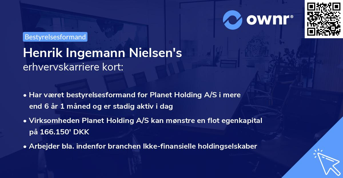 Henrik Ingemann Nielsen's erhvervskarriere kort
