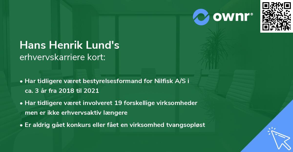Hans Henrik Lund's erhvervskarriere kort