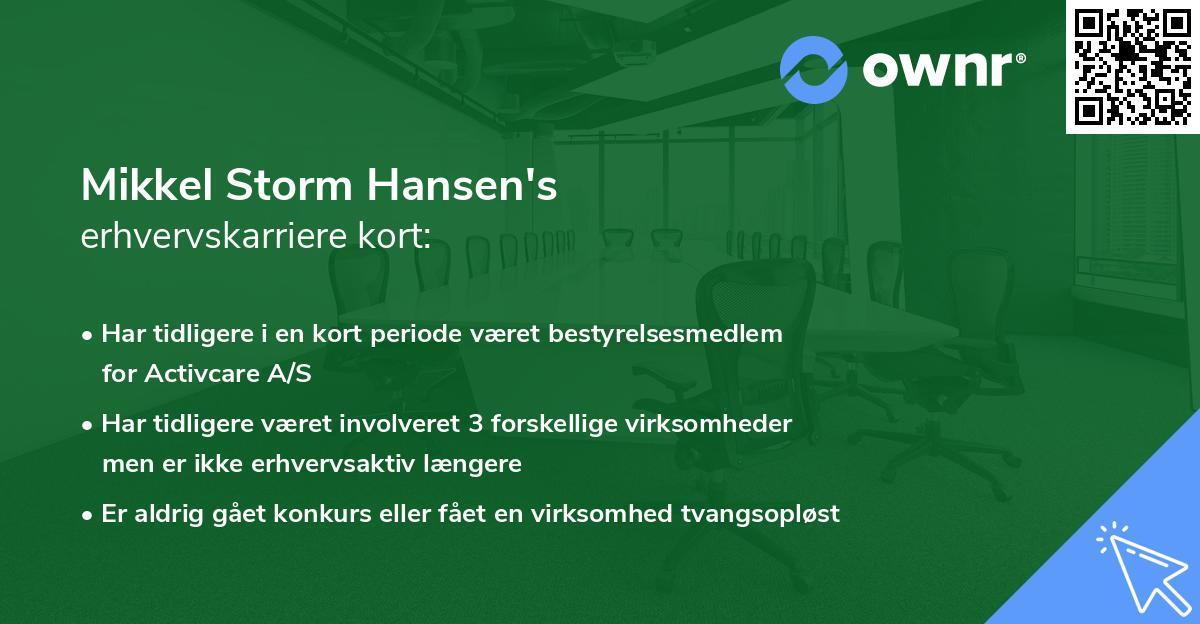 Mikkel Storm Hansen's erhvervskarriere kort