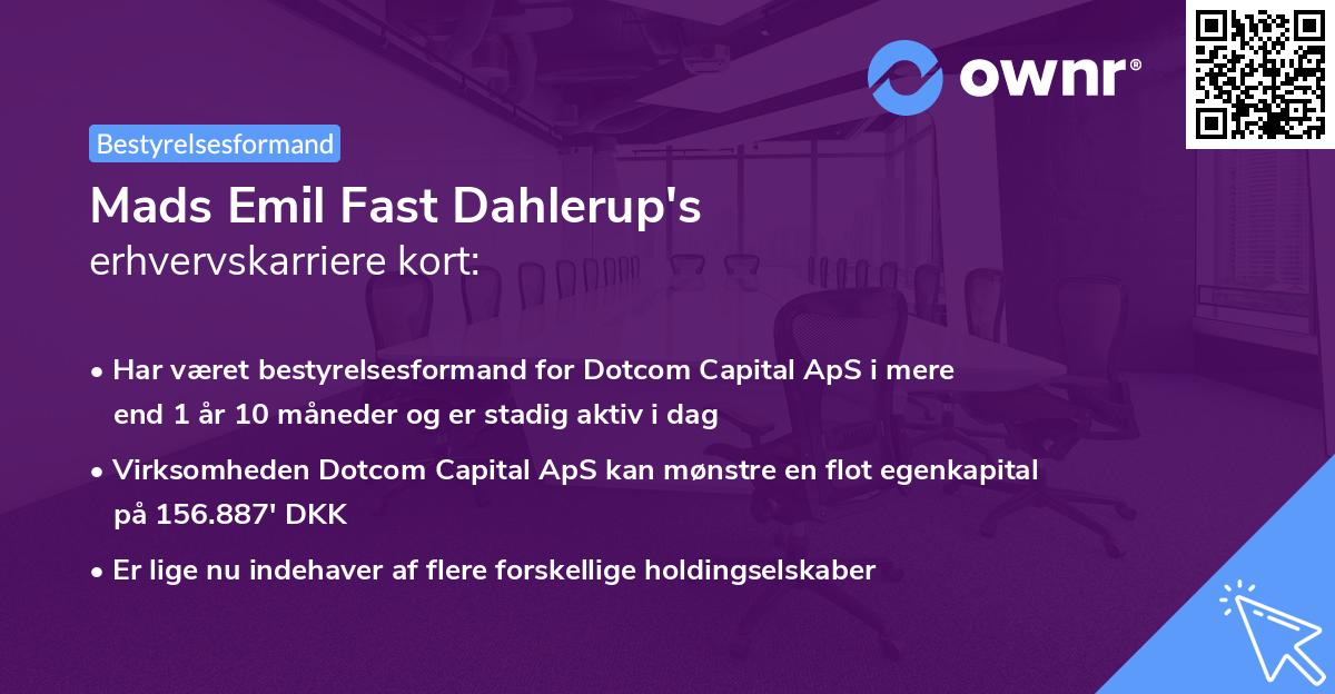 Mads Emil Fast Dahlerup's erhvervskarriere kort