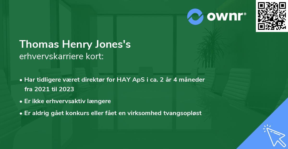 Thomas Henry Jones's erhvervskarriere kort