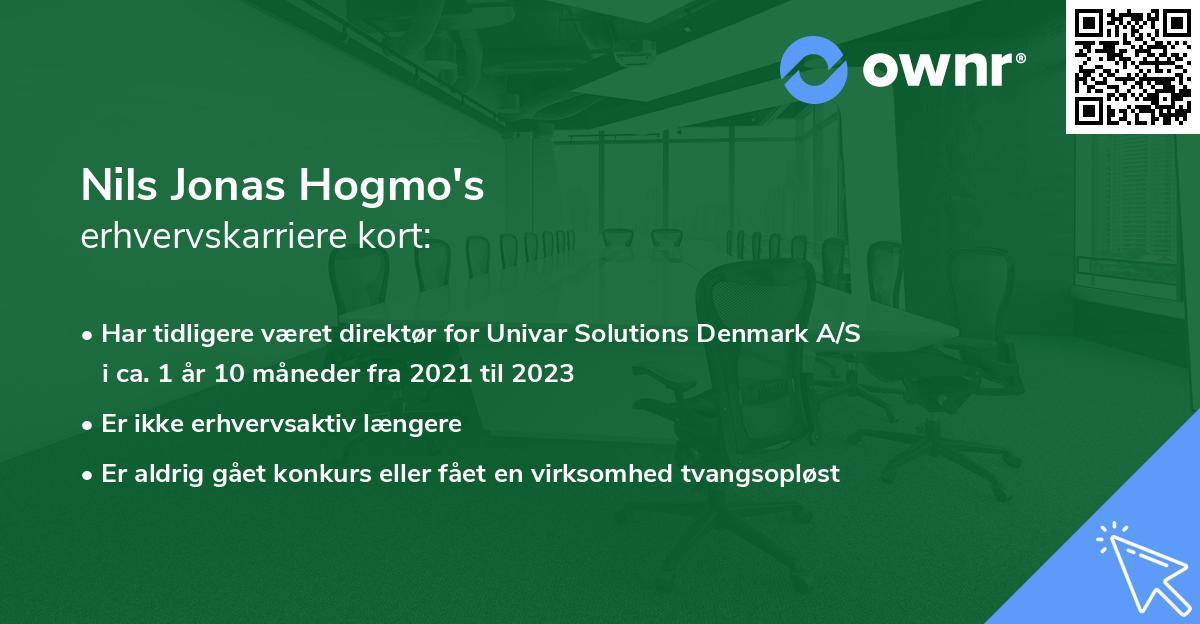Nils Jonas Hogmo's erhvervskarriere kort