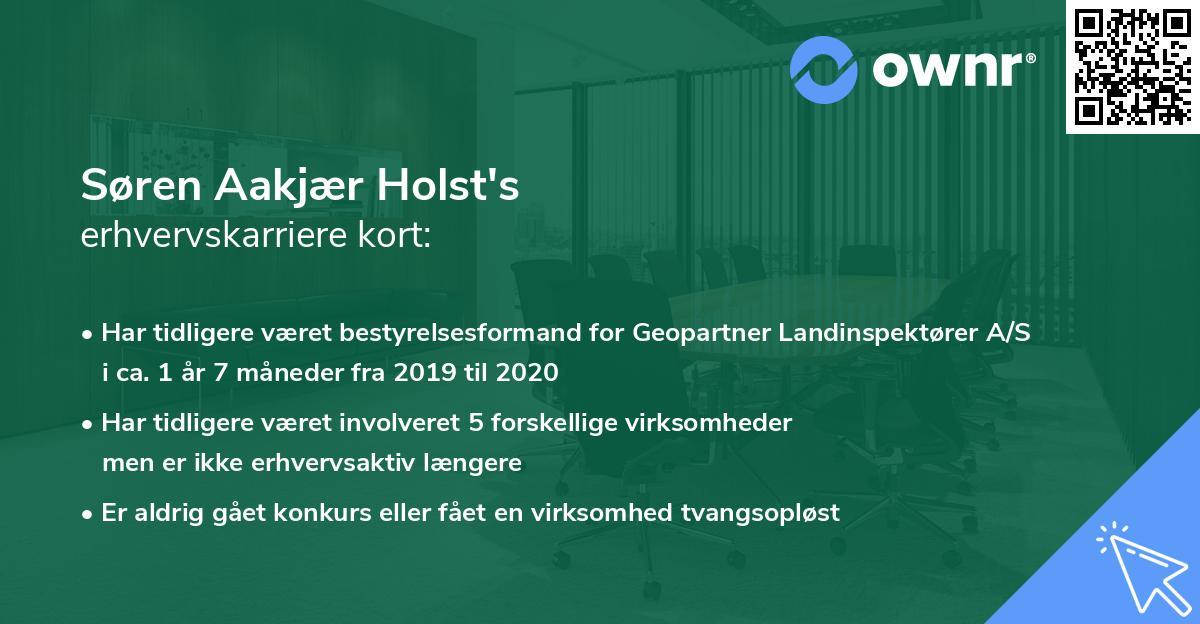Søren Aakjær Holst's erhvervskarriere kort