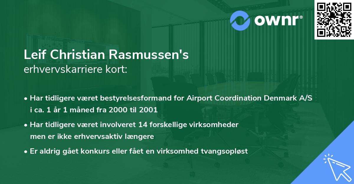 Leif Christian Rasmussen's erhvervskarriere kort