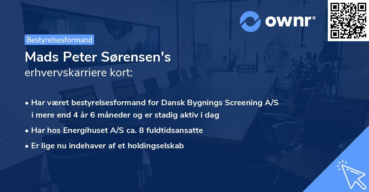 Mads Peter Sørensen's erhvervskarriere kort