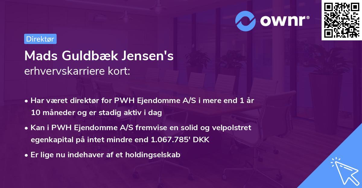 Mads Guldbæk Jensen's erhvervskarriere kort