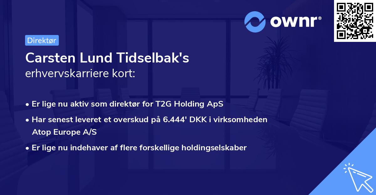 Carsten Lund Tidselbak's erhvervskarriere kort