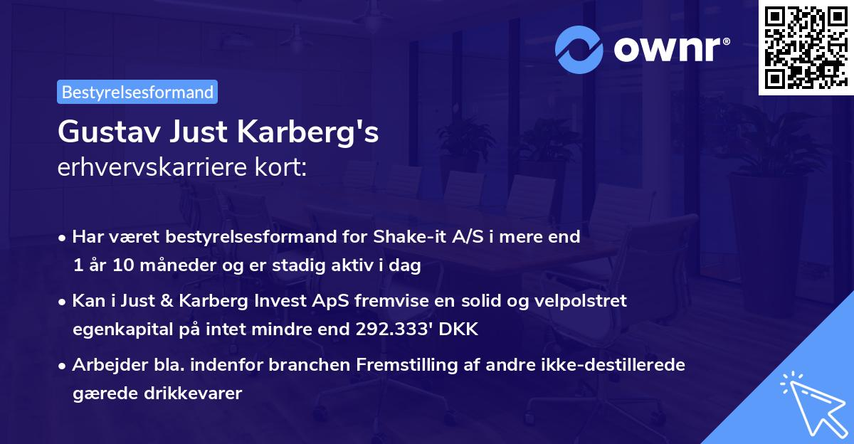Gustav Just Karberg's erhvervskarriere kort