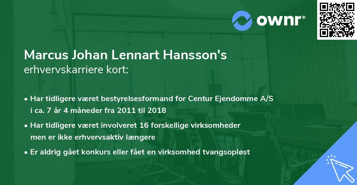 Marcus Johan Lennart Hansson's erhvervskarriere kort