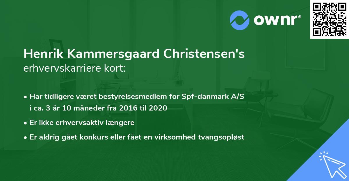 Henrik Kammersgaard Christensen's erhvervskarriere kort